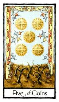 Five of Coins Tarot Card - Old English Tarot Deck