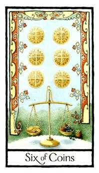 Six of Coins Tarot Card - Old English Tarot Deck