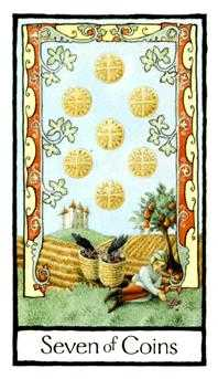 Seven of Coins Tarot Card - Old English Tarot Deck