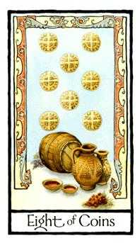 Eight of Coins Tarot Card - Old English Tarot Deck