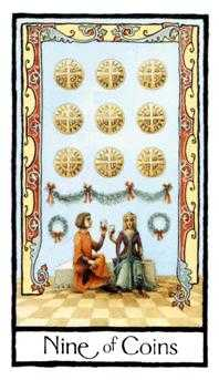 Nine of Pentacles Tarot Card - Old English Tarot Deck