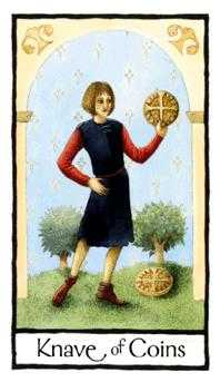 Daughter of Discs Tarot Card - Old English Tarot Deck