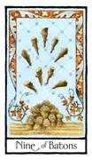Nine of Batons Tarot card in Old English Tarot deck