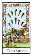 Ten of Batons Tarot card in Old English Tarot deck