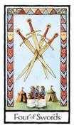 Four of Swords Tarot card in Old English Tarot deck
