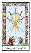 Five of Swords Tarot card in Old English Tarot deck