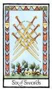 Six of Swords Tarot card in Old English Tarot deck