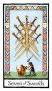 Seven of Swords Tarot card in Old English Tarot deck