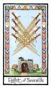 Eight of Swords Tarot card in Old English Tarot deck