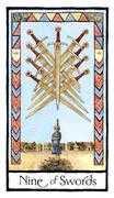 Nine of Swords Tarot card in Old English Tarot deck