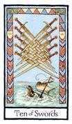Ten of Swords Tarot card in Old English Tarot deck