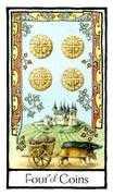 Four of Coins Tarot card in Old English Tarot deck