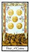Five of Coins Tarot card in Old English Tarot deck