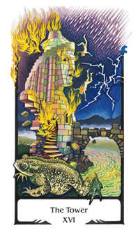 The Falling Tower Tarot Card - Old Path Tarot Deck