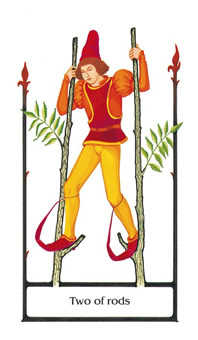 Two of Rods Tarot Card - Old Path Tarot Deck