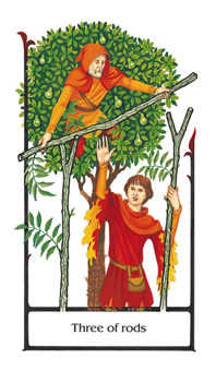 Three of Batons Tarot Card - Old Path Tarot Deck