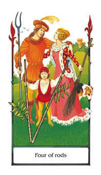 Four of Rods Tarot Card - Old Path Tarot Deck