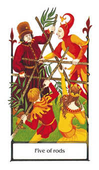 Five of Batons Tarot Card - Old Path Tarot Deck