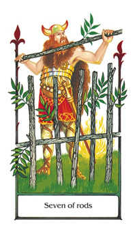 Seven of Rods Tarot Card - Old Path Tarot Deck