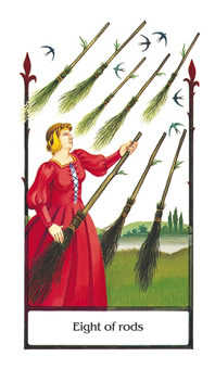 Eight of Rods Tarot Card - Old Path Tarot Deck
