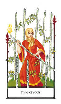 Nine of Batons Tarot Card - Old Path Tarot Deck