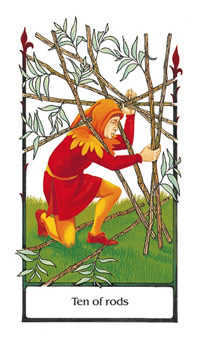 Ten of Rods Tarot Card - Old Path Tarot Deck