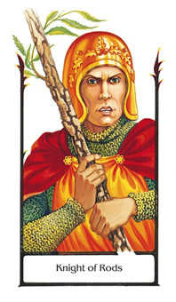 Knight of Rods Tarot Card - Old Path Tarot Deck