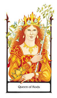 Queen of Rods Tarot Card - Old Path Tarot Deck
