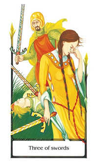 Three of Arrows Tarot Card - Old Path Tarot Deck