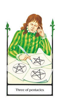 Three of Discs Tarot Card - Old Path Tarot Deck