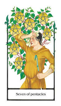 Seven of Coins Tarot Card - Old Path Tarot Deck