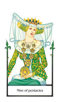 Nine of Coins Tarot Card - Old Path Tarot Deck
