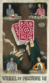 Wheel of Fortune Tarot Card - Omegaland Tarot Deck