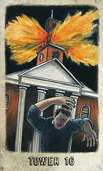 The Falling Tower Tarot Card - Omegaland Tarot Deck