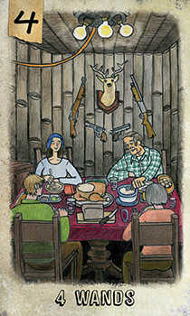 Four of Staves Tarot Card - Omegaland Tarot Deck