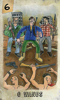 Six of Rods Tarot Card - Omegaland Tarot Deck