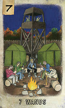 Seven of Rods Tarot Card - Omegaland Tarot Deck