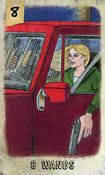 Eight of Pipes Tarot Card - Omegaland Tarot Deck