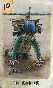 Ten of Pipes Tarot Card - Omegaland Tarot Deck