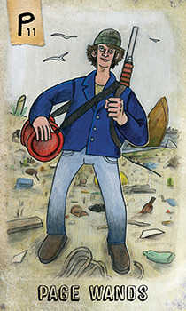 Page of Clubs Tarot Card - Omegaland Tarot Deck