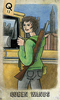 Queen of Pipes Tarot Card - Omegaland Tarot Deck