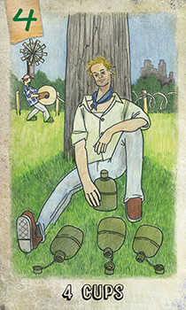 Four of Cauldrons Tarot Card - Omegaland Tarot Deck