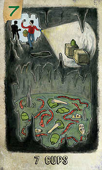 Seven of Cauldrons Tarot Card - Omegaland Tarot Deck