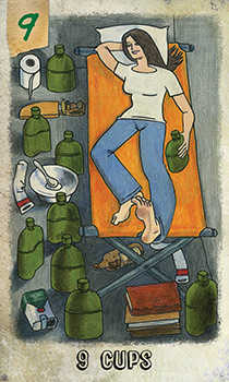 Nine of Ghosts Tarot Card - Omegaland Tarot Deck