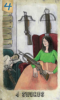 Four of Swords Tarot Card - Omegaland Tarot Deck