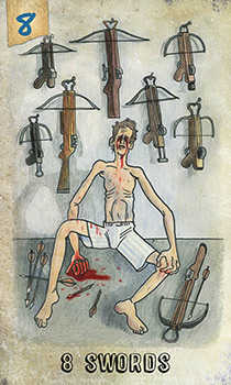 Eight of Spades Tarot Card - Omegaland Tarot Deck