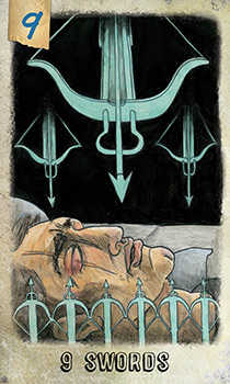 Nine of Bats Tarot Card - Omegaland Tarot Deck