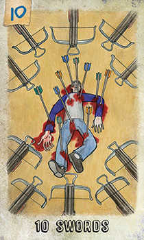 Ten of Arrows Tarot Card - Omegaland Tarot Deck