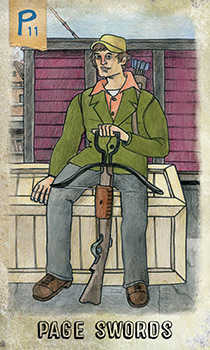 Page of Swords Tarot Card - Omegaland Tarot Deck