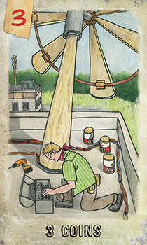 Three of Pentacles Tarot Card - Omegaland Tarot Deck